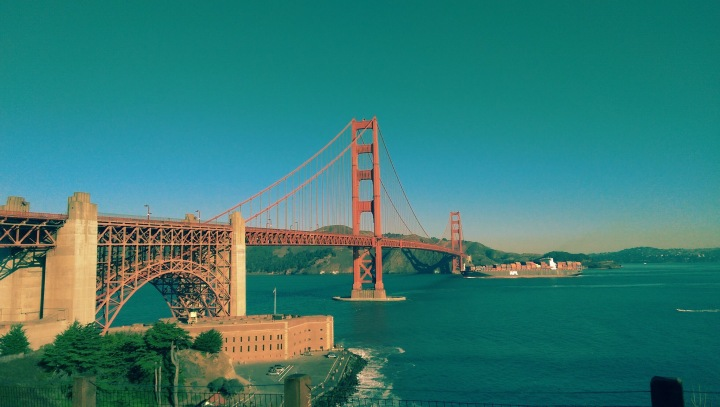 View of the Golden Gate Bridge in San Francisco, looking out over the bay