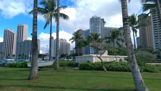 View of Waikiki Beach in Honolulu Hawaii, looking back from the shoreline