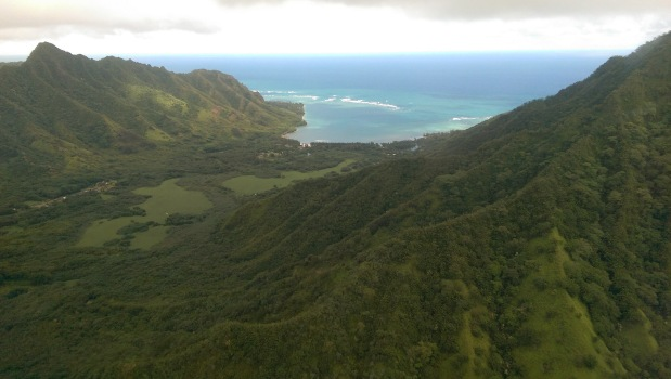 Jurassic park scenery in Oahu Hawaii from a helicopter