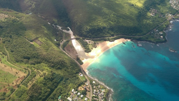 View of Oahu Hawaii from a helicopter